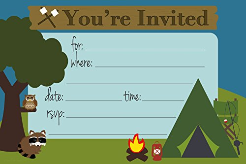 piece of cake party supplies camping themed party invitations