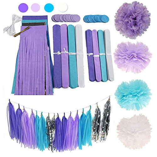 Piece of Cake Party Supplies 26pcs Purple Lavender Baby Blue White