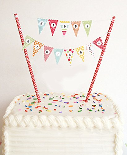 ELSKY Mini Happy Birthday Cake Bunting