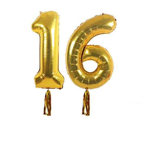 16th Birthday Party Decorations Kit With Happy Banner Sign Number 16 Mylar Balloon Gold Tassels White Latex Ballon Perfect Year Old