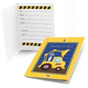 Construction Truck - Fill In Baby Shower or Birthday Party Invitations (8 count)