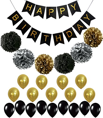 Perfect Black And Gold Decoration Set Happy Birthday