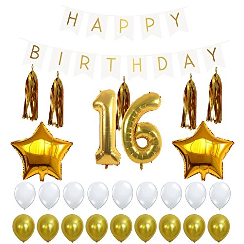 16th Birthday Party Decorations Kit With Happy